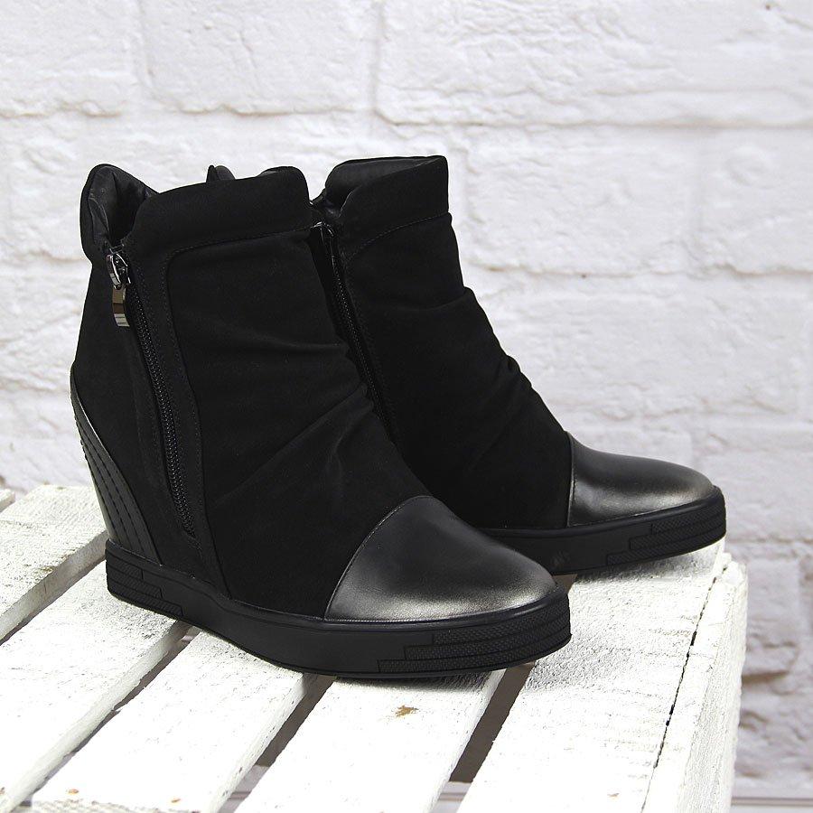 Czarne sneakersy damskie na koturnie Sergio Leone