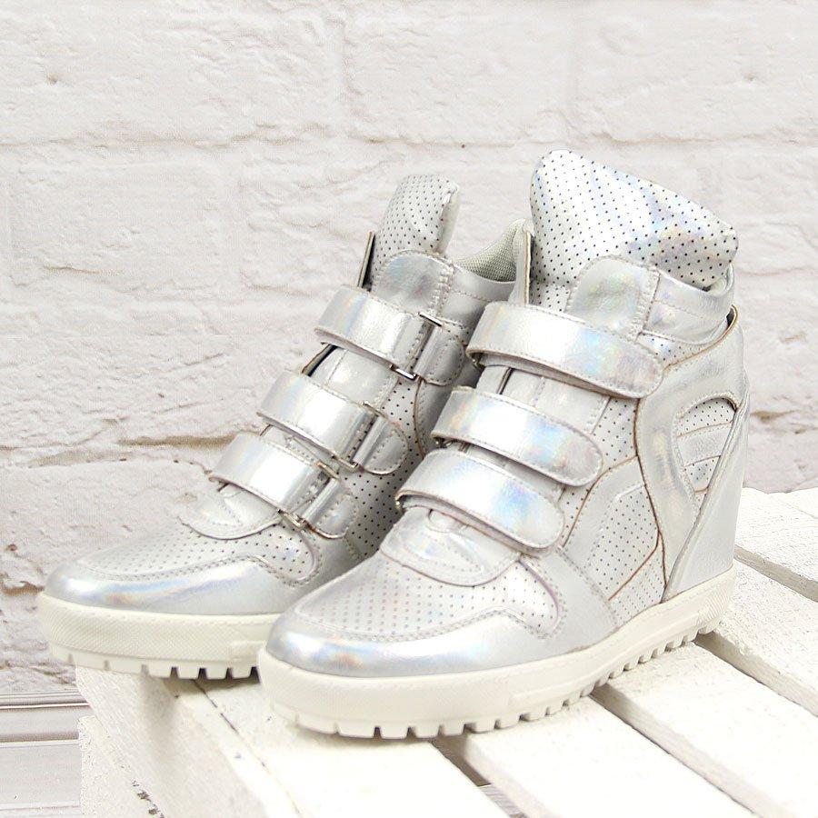 Srebrne sneakersy koturny na rzepy Wishot
