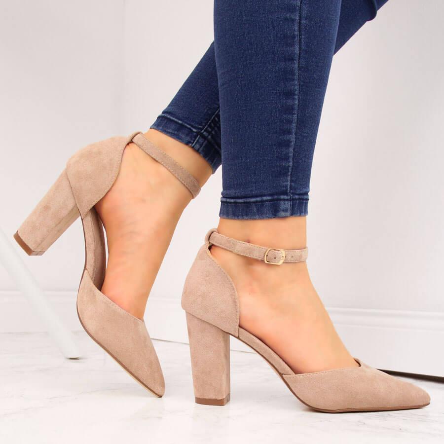 Sandały damskie na słupku szpic beżowe Sabatina