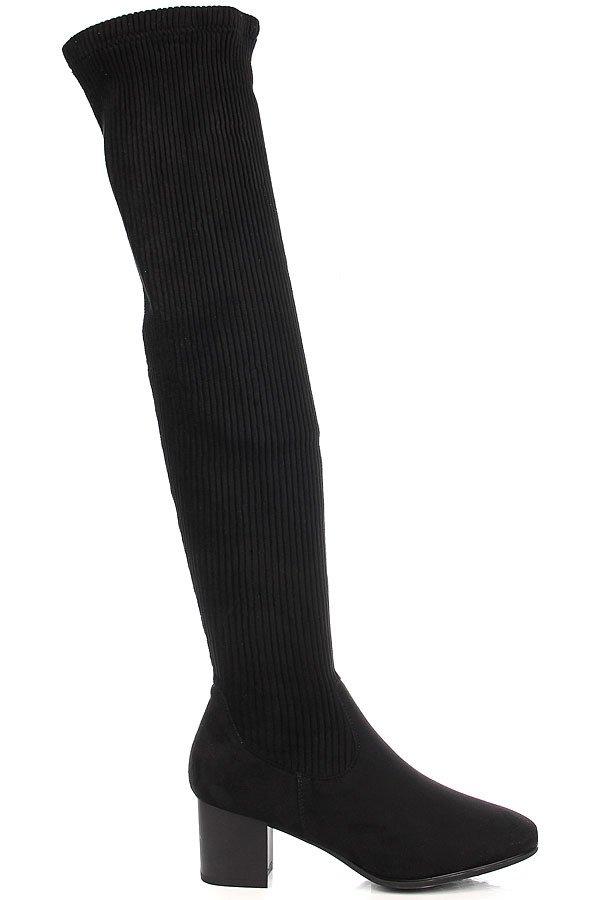 Czarne kozaki damskie elastyczne ocieplane w prążki Vinceza