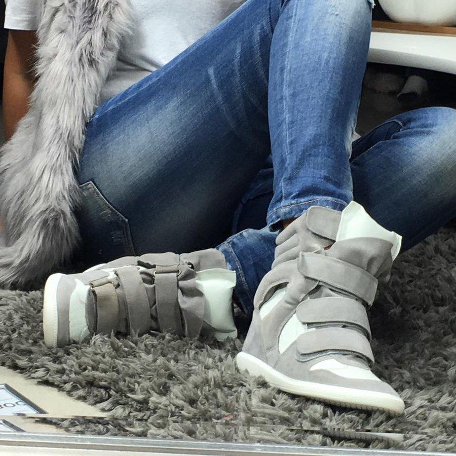 Szare sneakersy na koturnie na rzepy Lu Boo