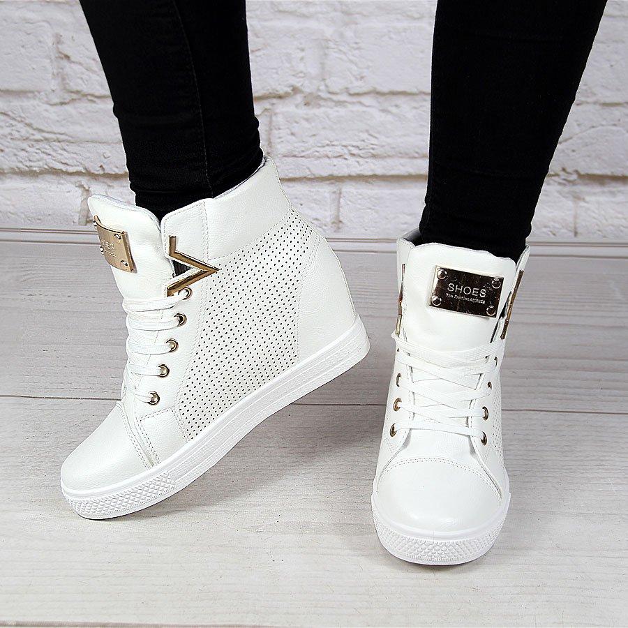 Białe botki damskie sportowe na koturnie sneakersy N.E.W.S.