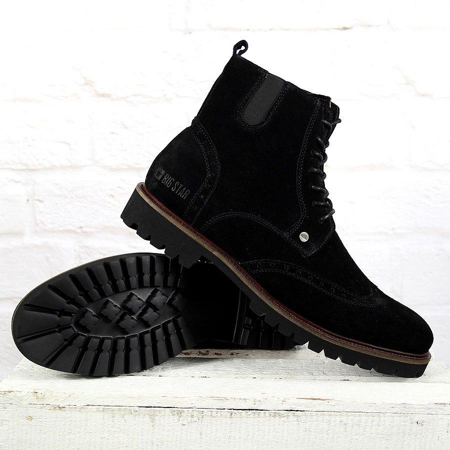 Buty ze skóry welurowej ze sznurowaniem