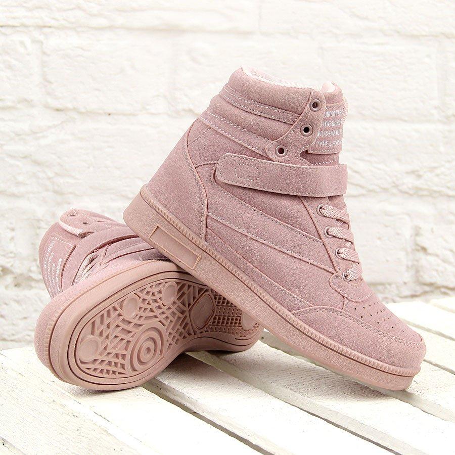 Różowe sneakersy damskie na koturnie Lu Boo