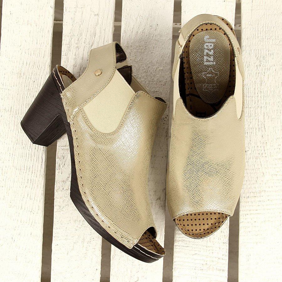 Złote sandały z gumką open toe Jezzi