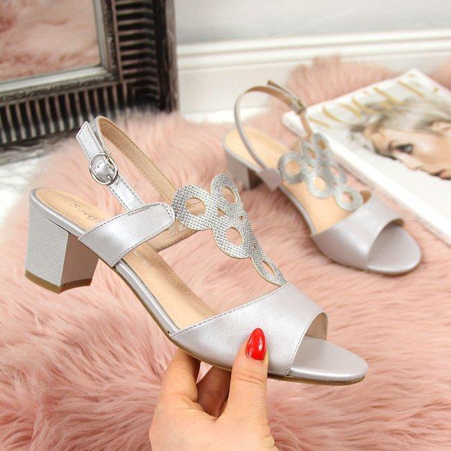Sandały damskie na ozdobnym klocku czarne Sergio Leone
